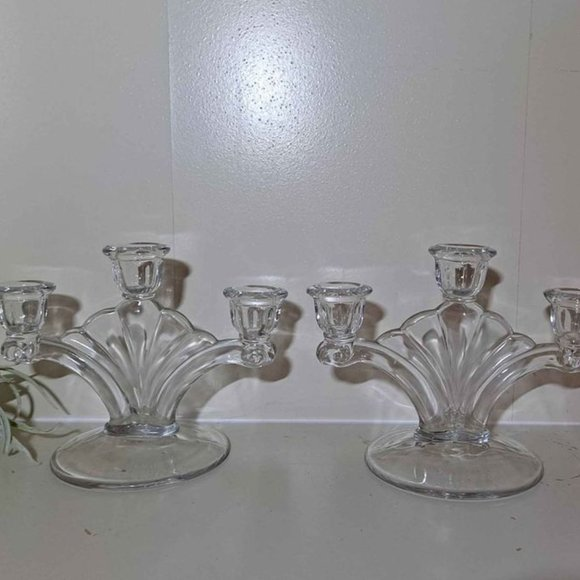 Vintage Art Deco Glass Fan Candelabra- A Pair